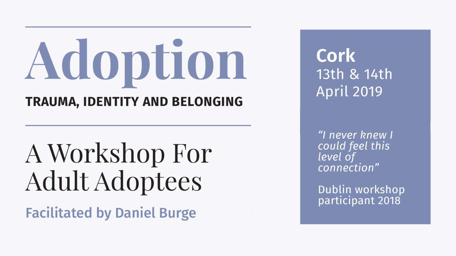 Adoption healing workshop Cork April 2019